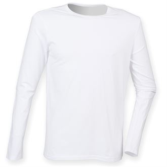 WICK HIGH SCHOOL FEEL GOOD WHITE LONG SLEEVED STRETCH T-SHIRT WITH PRINT LOGO