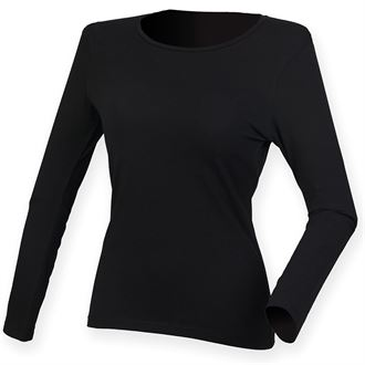 WICK HIGH SCHOOL WOMENS FEEL GOOD BLACK LONG SLEEVED STRETCH T-SHIRT WITH PRINT LOGO