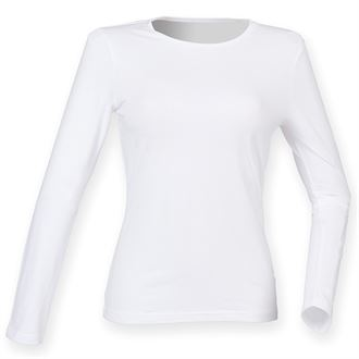 WICK HIGH SCHOOL WOMENS FEEL GOOD WHITE  LONG SLEEVED STRETCH T-SHIRT WITH PRINT LOGO